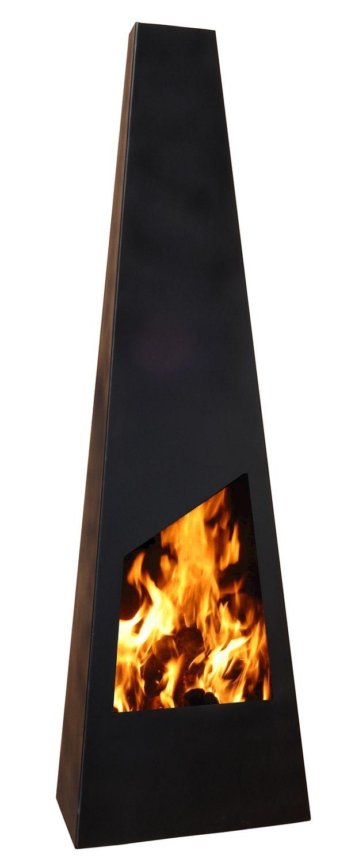 NEVADA Terrassen Kamin, schwarzer Stahl, modern und puristisch