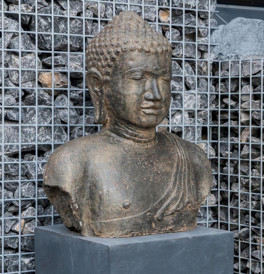 garten im quadrat buddha b ste kunst stein antik 55 cm grau gr n garten. Black Bedroom Furniture Sets. Home Design Ideas