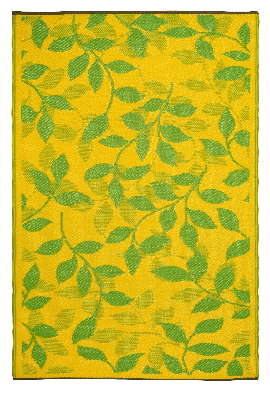 garten im quadrat outdoor teppich bali grun gelb With balkon teppich mit tapete grün blätter