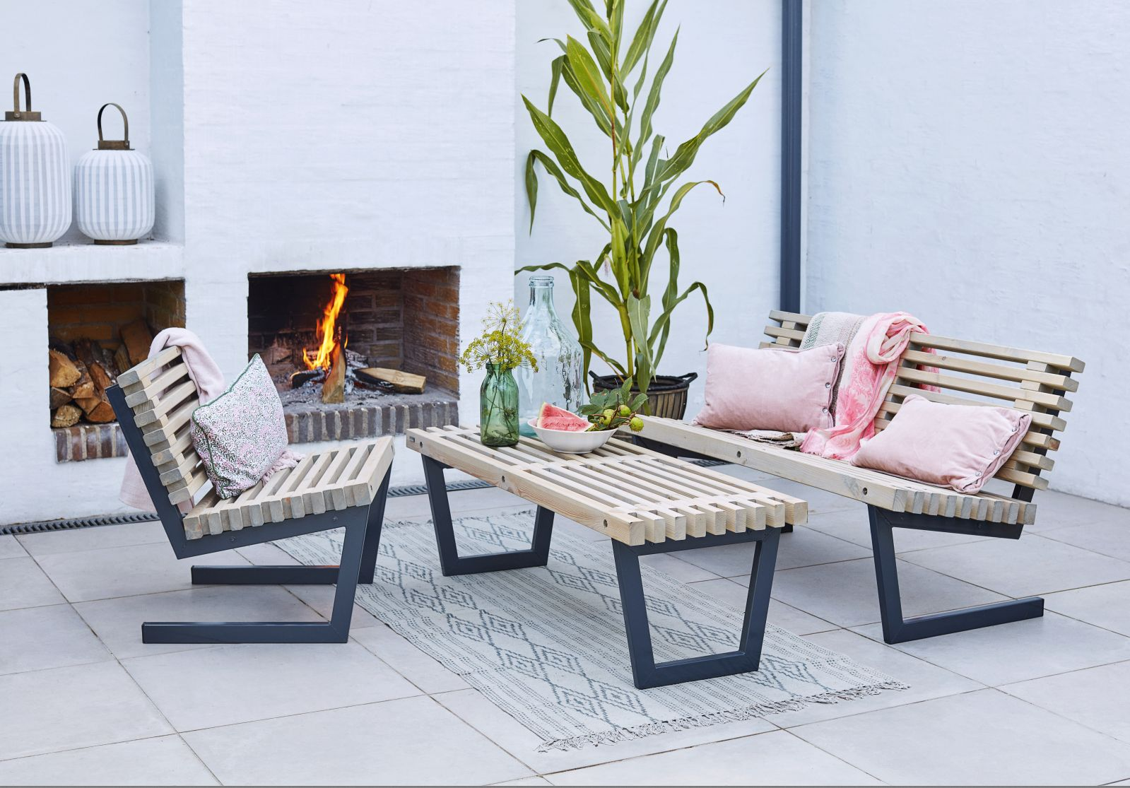 Garten im Quadrat | Design-Garten-Sofa aus Holz, Loft-Style