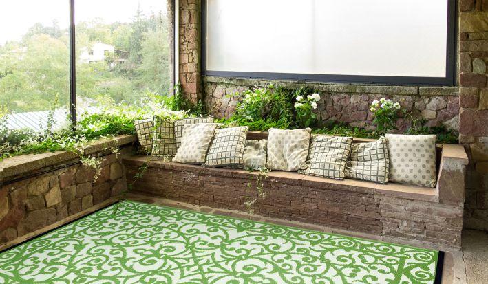 garten im quadrat outdoor teppich gala gr n wei 120 x 180 cm. Black Bedroom Furniture Sets. Home Design Ideas
